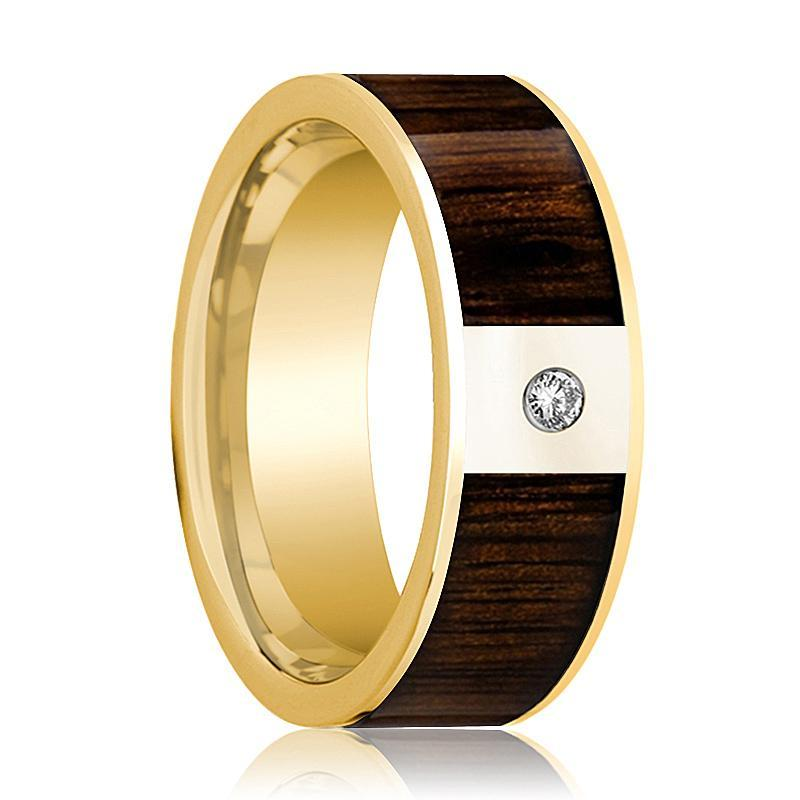 Mens Wedding Band Polished 14k Yellow Gold & Black Walnut Inlay with Diamond - 8mm - AydinsJewelry