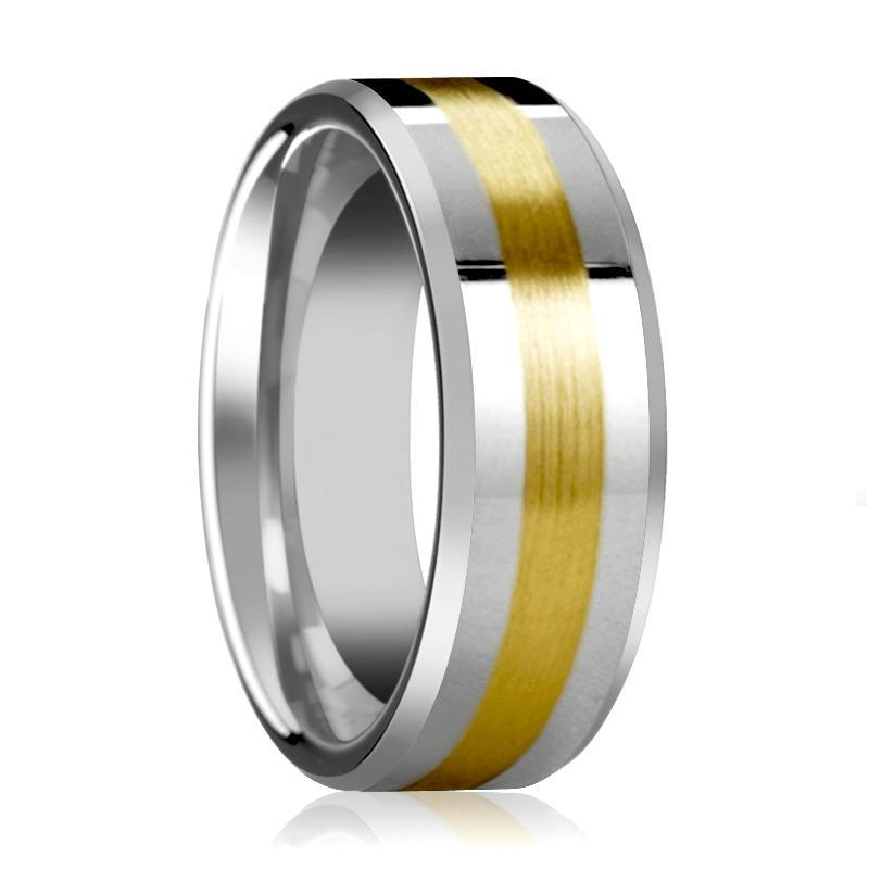 14k Gold Stripe Tungsten Wedding Band, Beveled Edges Polished Finish 6mm, 8mm - AydinsJewelry