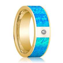 Mens Wedding Band 14K Yellow Gold with Blue Opal Inlay and Diamond Flat Polished Design - AydinsJewelry