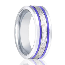 Aydins Tungsten Wedding Band Pipe Cut Hammered Center w/ Two Blue Hue Trims 8mm Tungsten Carbide Ring - AydinsJewelry