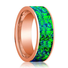 Mens Wedding Band 14K Rose Gold with Emerald Green and Sapphire Blue Opal Inlay Flat Polished Design - AydinsJewelry