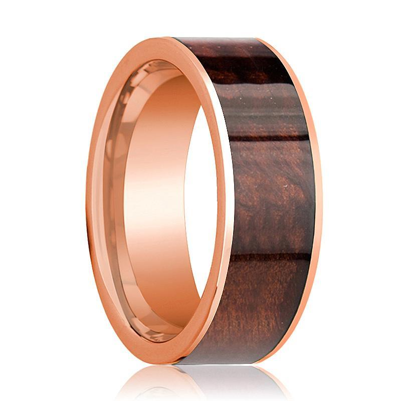 Mens Wedding Band Polished Flat 14k Rose Gold Wedding Ring with Red Wood Inlay - 8mm - AydinsJewelry