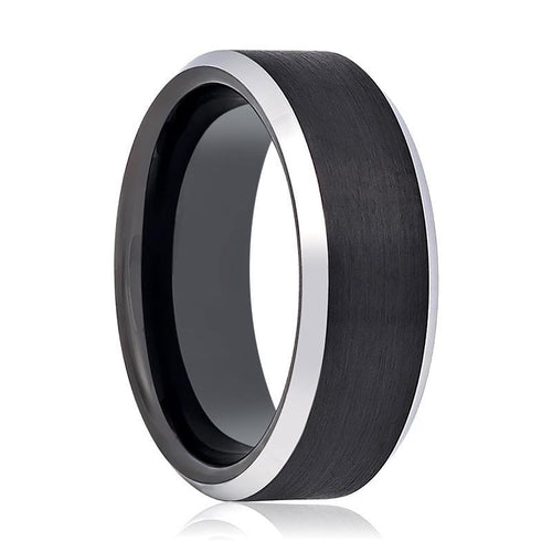 Tungsten Ring Black Brushed Center Silver Polished Beveled Edge Wedding Band 4mm, 6mm, 7mm, 8mm, 10mm Tungsten Carbide Wedding Ring