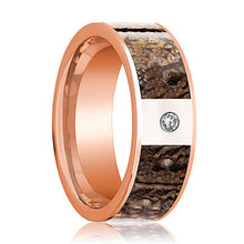 Dinosaur Bone Ring - Brown Dinosaur Bone - Flat Polished 14K Rose Gold and Diamond - Polished Finish - 8mm - 14k Rose Gold Wedding Ring - AydinsJewelry