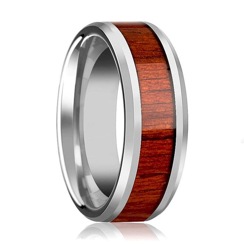 Tungsten Wood Ring - Padauk Real Wood - Tungsten Wedding Band - Polished Finish - 6mm - 8mm - 10mm - Tungsten Wedding Ring - AydinsJewelry