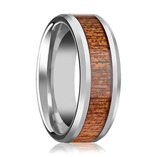 Tungsten Wood Ring - African Sapele Wood Inlay - Tungsten Wedding Band - Polished Finish - 6mm - 8mm - 10mm - Tungsten Wedding Ring - AydinsJewelry