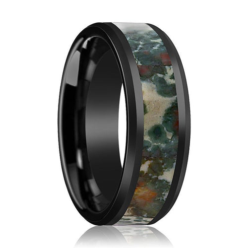 Black Ceramic Ring - Coprolite Fossil Inlay - Ceramic Wedding Band - Beveled - Polished Finish - 8mm - Ceramic Wedding Ring - AydinsJewelry