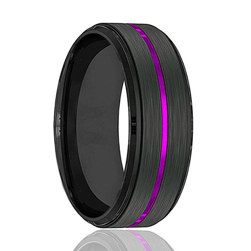 NIGHTSHADE Purple Groove Men's Tungsten Wedding Band