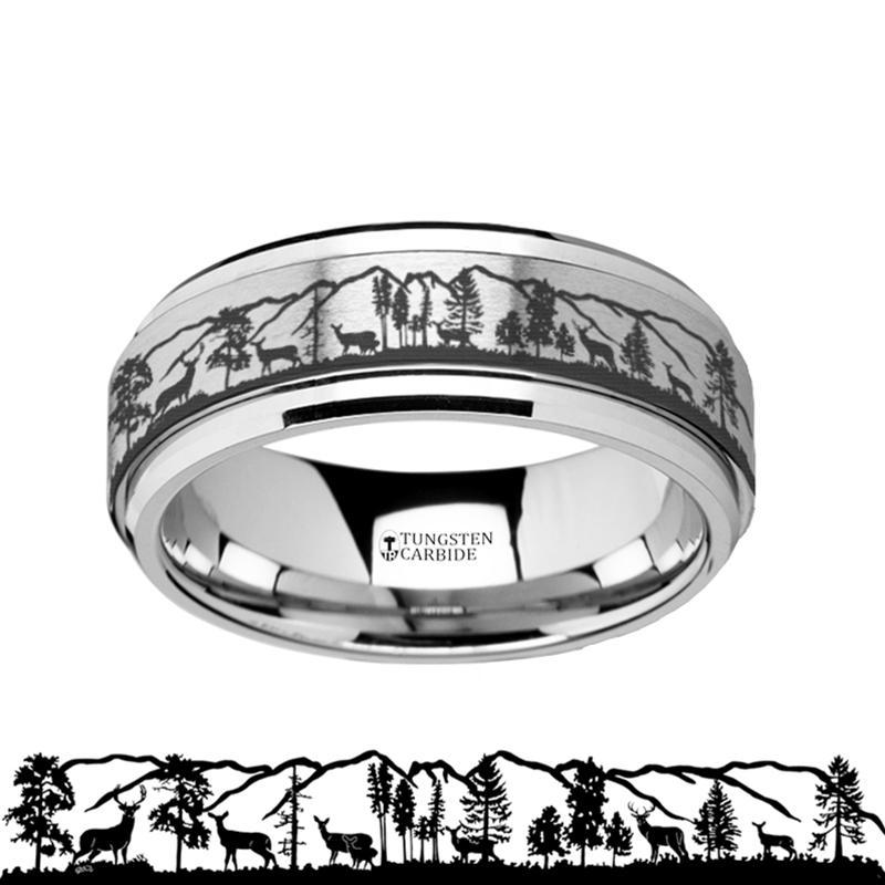 Animal Landscape Scene - Roaming Deer Stag - Spinning Tungsten Ring - Spinner Laser Engraved  - Tungsten Carbide Wedding Band - 8mm - AydinsJewelry