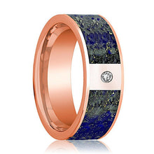 Mens Wedding Band 14K Rose Gold with Blue Lapis Lazuli Inlay and Diamond Flat Polished Design - AydinsJewelry