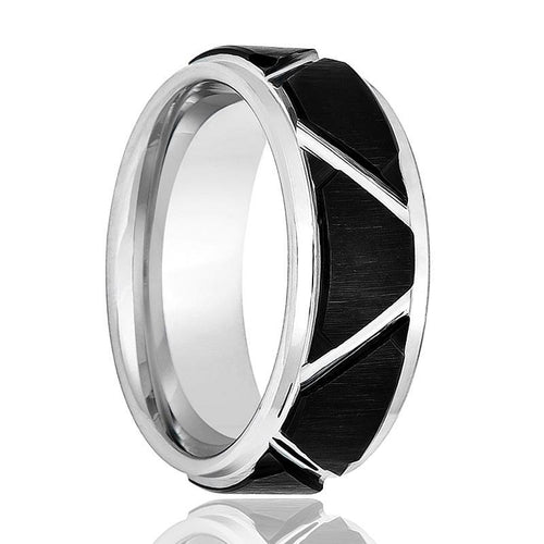 Aydins Silver Mens Tungsten Band Black Trapezoid Design Center 8mm Tungsten Carbide Wedding Ring - AydinsJewelry