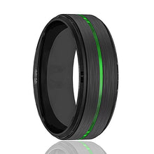 REAPER Green Groove Men's Black Wedding Band