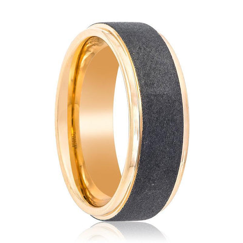 Rose Gold Tungsten Wedding Ring Sandblasted Center