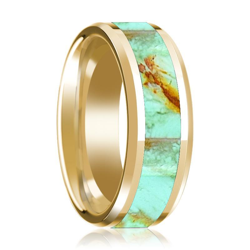 14K Yellow Gold Mens Wedding Ring Inlaid with Turquoise Stone Beveled Edge Polished Design - AydinsJewelry