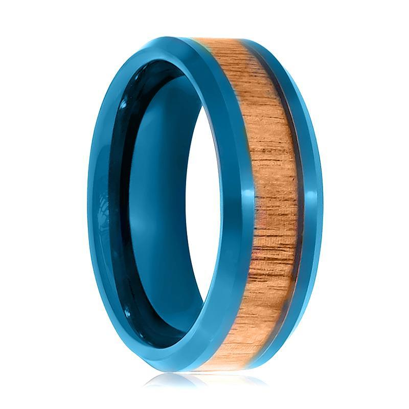 Prussian Blue Inner Ring with Hawaiian Koa Wood Inlay Beveled Edge 8mm Tungsten Wedding Band