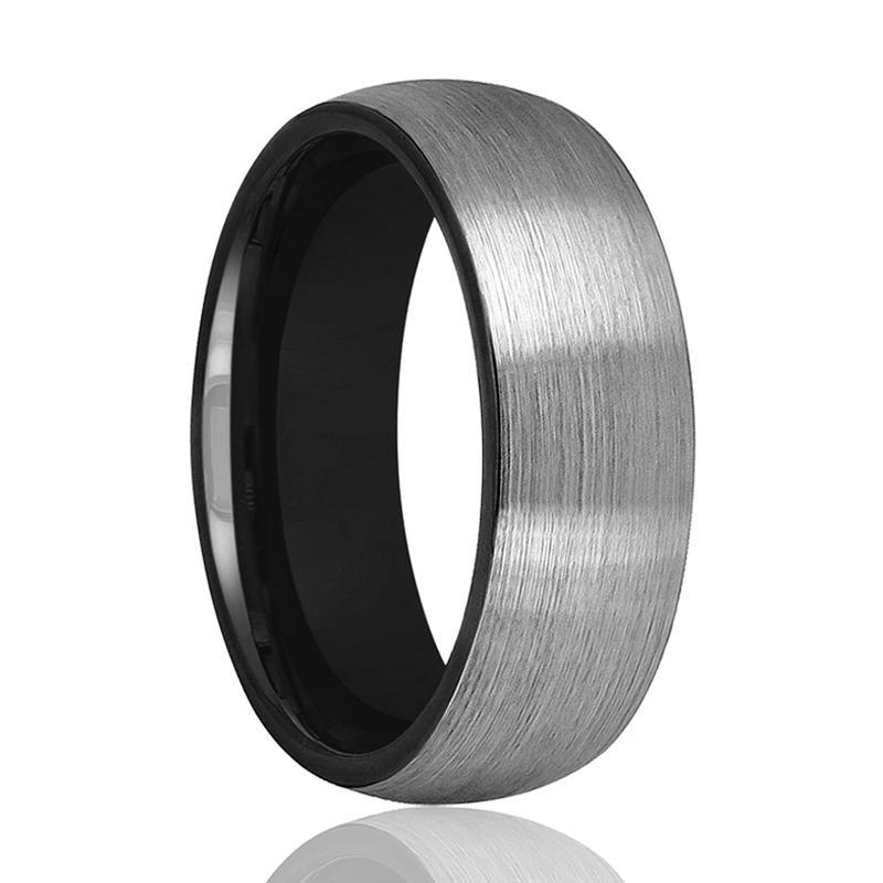 Tungsten Wedding Band - Men and Women - Comfort Fit - Black Round Domed - Brushed Tungsten Carbide Wedding Ring - 2mm - 6mm - 8mm - AydinsJewelry