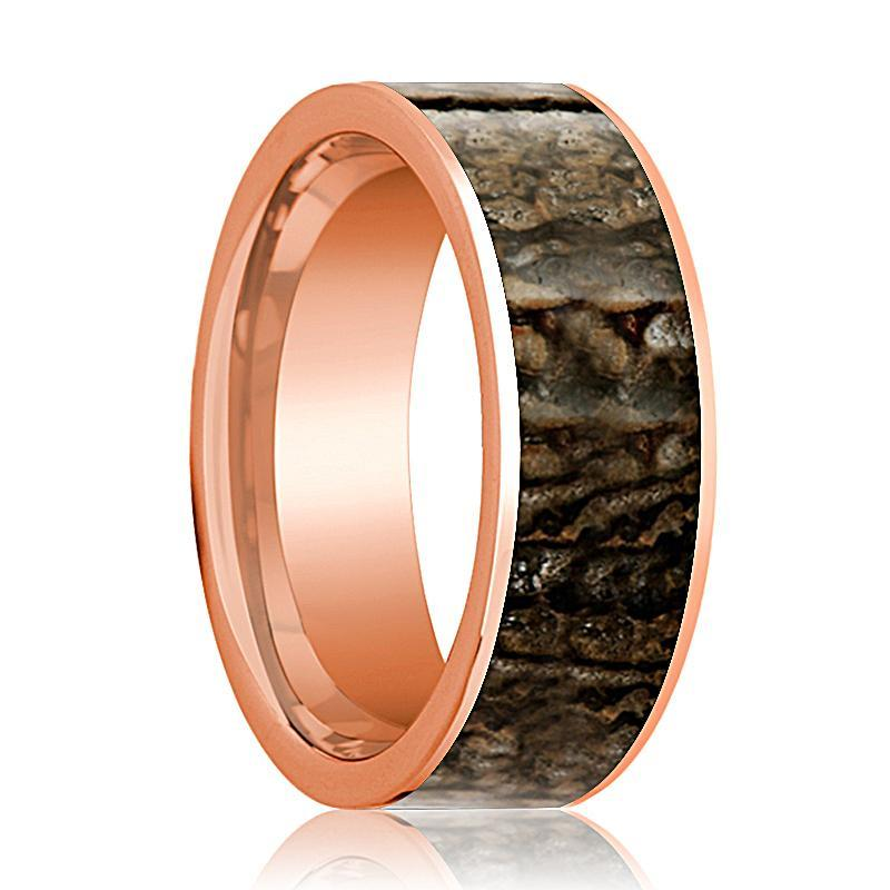 Dinosaur Bone Ring - Brown Dinosaur Bone - Flat Polished 14K Rose Gold - Polished Finish - 8mm - 14k Rose Gold Wedding Ring - AydinsJewelry