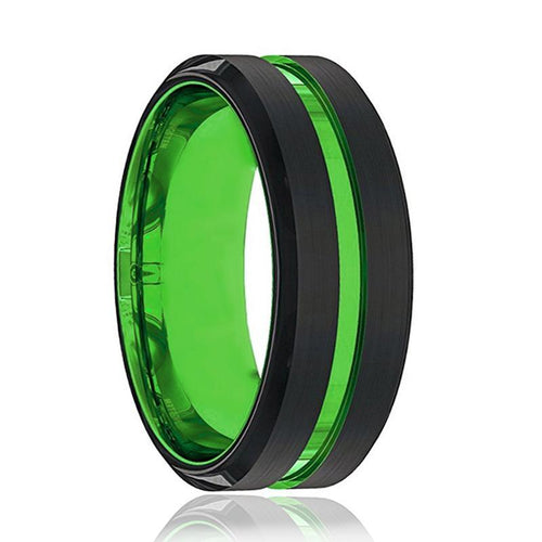 Acid Green Tungsten Men's Wedding Band - AydinsJewelry