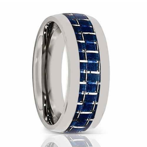 Aydins Mens Tungsten Wedding Band w/ Blue Carbon Fiber Inlay Domed 8mm Tungsten Carbide Ring - AydinsJewelry