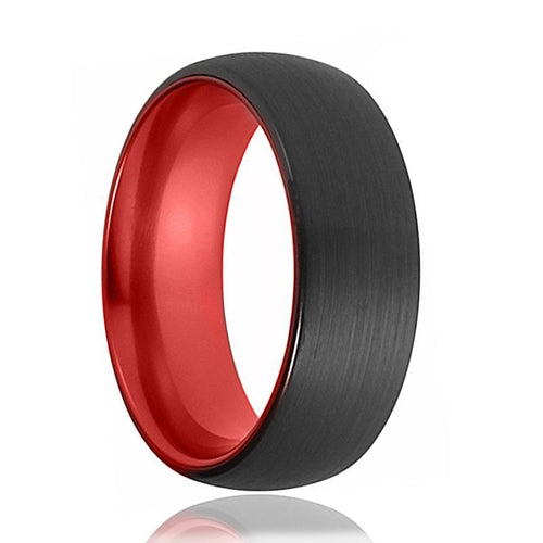 FERRARI Black and Red Tungsten Carbide Ring - AydinsJewelry