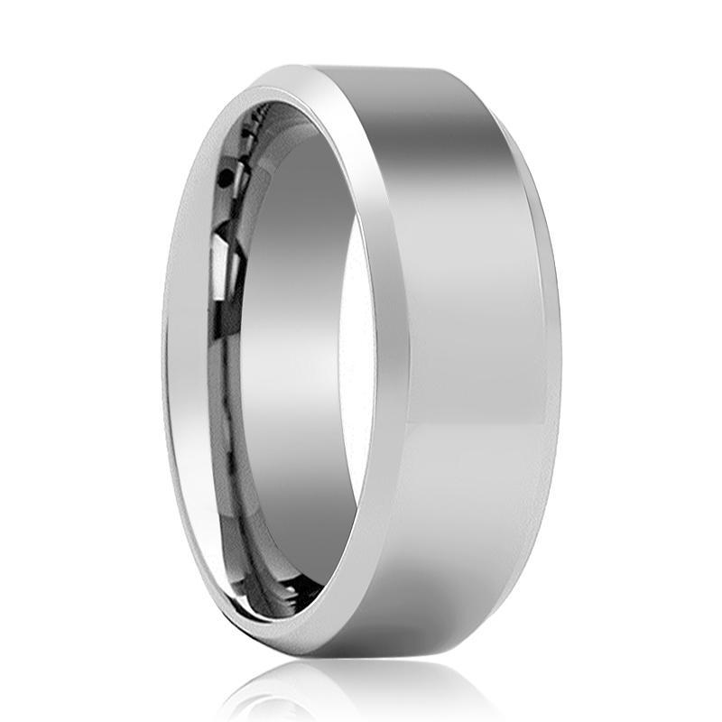 Aydins Tungsten Wedding Ring Shiny Polished Center Beveled Edge 6mm, 8mm Tungsten Carbide Band - AydinsJewelry