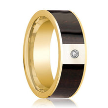 Mens Wedding Band Polished 14k Yellow Gold Flat Wedding Ring with Ebony Wood Inlay & Diamond - 8mm - AydinsJewelry