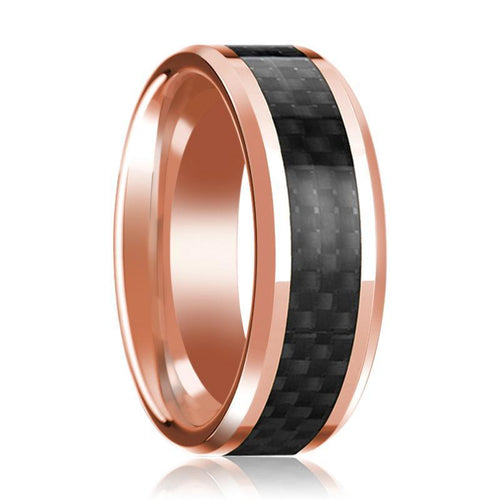 14K Rose Gold Wedding Band with Black Carbon Fiber Inlay Beveled Edge Polished Mens Ring - AydinsJewelry