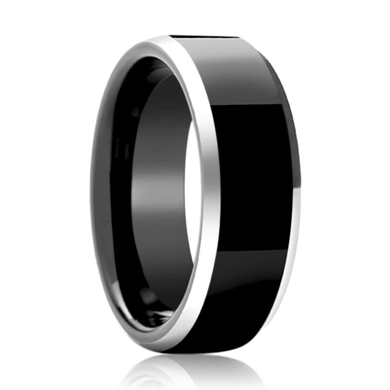 Aydins Tungsten Ring Black Shiny Polished Silver Beveled Edge Wedding Band 4mm, 6mm, 8mm Tungsten Carbide Wedding Ring - AydinsJewelry