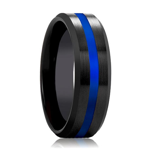 Black Ceramic Ring - Brushed Finish Wedding Band with Polished Blue Stripe - Ceramic Wedding Band - 8mm - AydinsJewelry