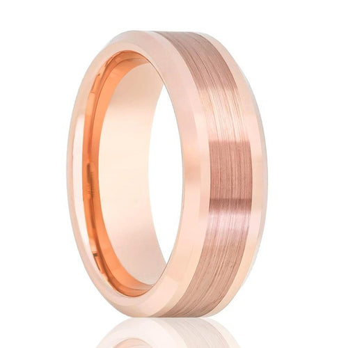 Aydins Rose Gold Brushed Center Line Mens Tungsten Wedding Band 8mm Beveled Edge Tungsten Carbide Wedding Ring - AydinsJewelry