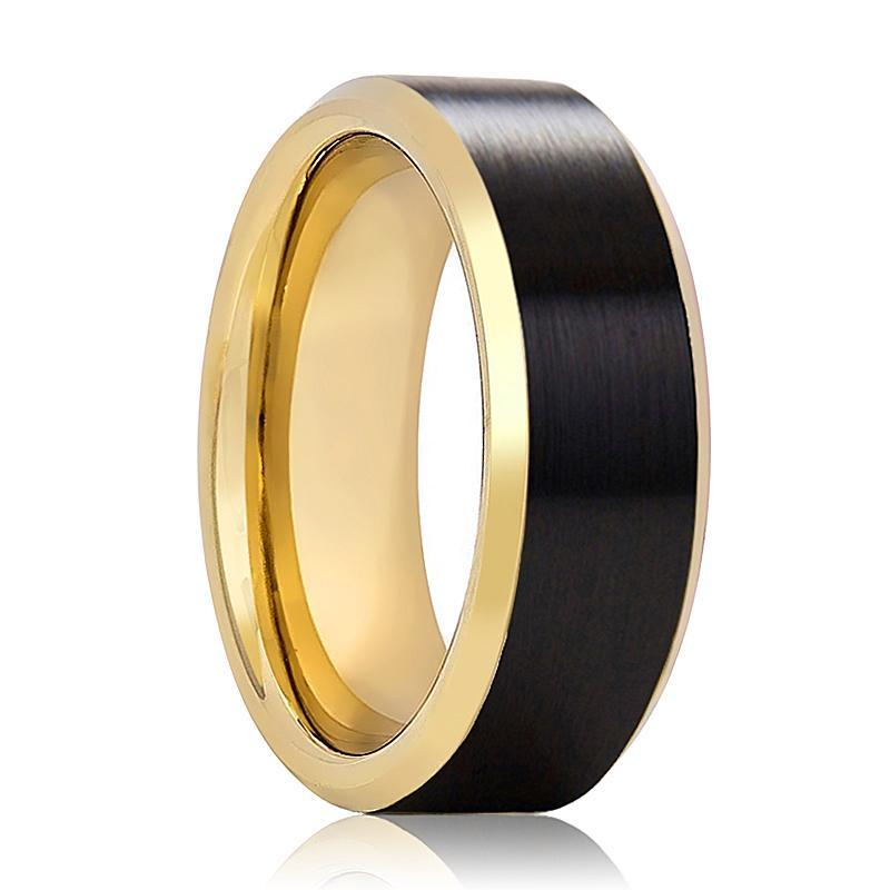 Gold & Black Tungsten Wedding Ring Beveled Edge 8mm Mens Tungsten Carbide Ring - AydinsJewelry