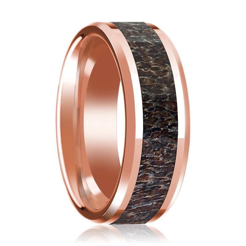 14K Rose Gold Wedding Ring with Dark Deer Antler Inlay Beveled Edge and Polished - AydinsJewelry