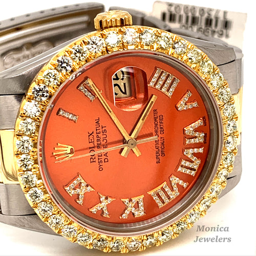 16013 14k/Stainless steel Orange Roman Numeral Diamond Dial 3.25ctw