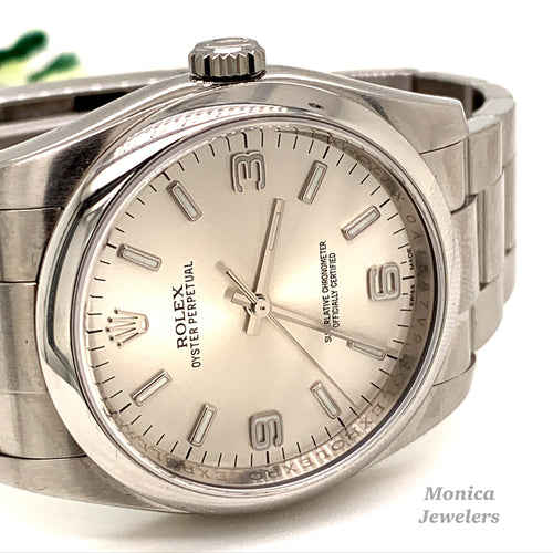 Rolex 116000 Stainless Steel 36mm Silver Arabic stick dial with smooth bezel