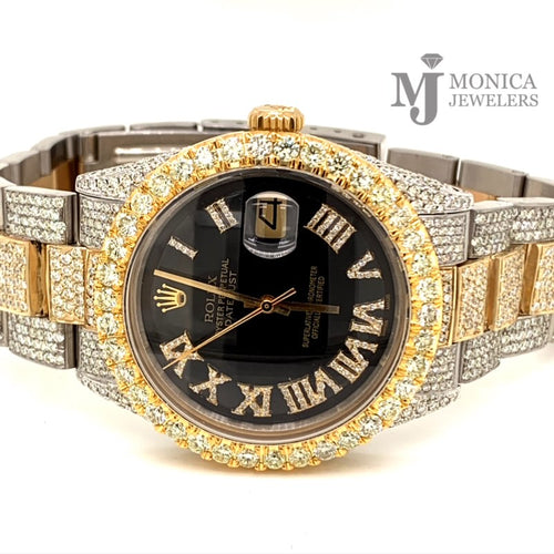 1601 Yellow gold/ Stainless steel Jubilee with Black Roman Numeral Diamond dial 17 carats