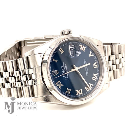 Rolex 16200 Stainless Steel 36mm Blue Roman numeral  dial with smooth bezel