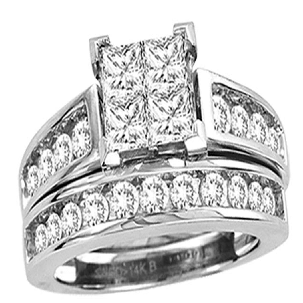 14k white gold 1.50ctw Princess cut round diamond Engagement ring set