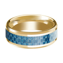 14K Yellow Gold Wedding Band with Blue Carbon Fiber Inlay Beveled Edge Polished Ring - AydinsJewelry