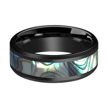 ARMOR Black Wedding Ring with Shell Inlay - AydinsJewelry