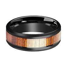 Mens Wooden Ring Koa Wood Inlay Ceramic Wedding Band Beveled Polished Finish Ceramic Wedding Ring