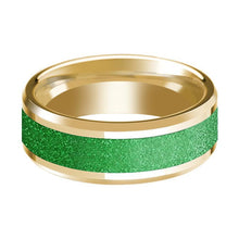 Mens Wedding Ring Beveled Edge 14K Yellow Gold with Textured Green Inlay Polished