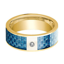 Mens Wedding Band 14K Yellow Gold and Diamond with Blue Carbon Fiber Inlay Flat Polished Design - AydinsJewelry