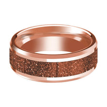 14K Rose Gold Wedding Band with Orange Goldstone Inlay Beveled Edge Polished Design - AydinsJewelry