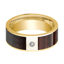 Mens Wedding Band 14k Yellow Gold & Bubinga Wood Inlaid Polished Finish with Diamond- 8mm - AydinsJewelry