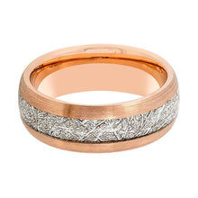 Aydins Rose Gold & Meteorite Inlay Tungsten Ring Men 8mm Beveled Edge Tungsten Carbide Wedding Band - AydinsJewelry