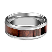 Tungsten Wood Ring - Red Wood Inlay - Tungsten Wedding Band - Polished Finish - 8mm - Tungsten Wedding Ring - AydinsJewelry