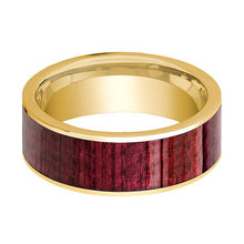 Mens Wedding Band Polished 14k Yellow Gold Men's Wedding Ring with Purpleheart Wood Inlay  - 8mm - AydinsJewelry