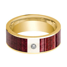 Mens Wedding Band Polished 14k Yellow Gold Men's Wedding Ring with Purpleheart Wood Inlay  & Diamond - 8mm - AydinsJewelry
