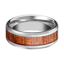 Tungsten Wood Ring - Exotic Mahogany Hard Wood - Tungsten Wedding Band - Polished Finish - 4mm - 6mm - 8mm - 10mm - Tungsten Wedding Ring - AydinsJewelry