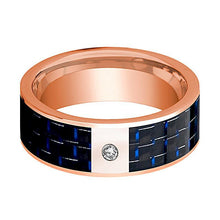 Mens Wedding Band 14K Rose Gold and Diamond with Blue & Black Carbon Fiber Inlay Flat Polished Design - AydinsJewelry